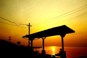 伊予灘に沈む夕日