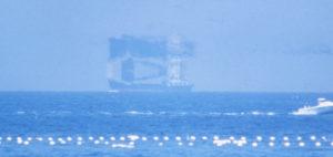 魚津市の海岸からの蜃気楼