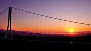 三島スカイウォークから見える駿河湾に沈む夕日