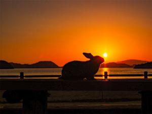 休暇村大久野島からの夕日