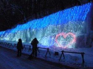 白糸の滝 軽井沢 冬 ライトアップ