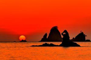 大田子海岸の夕日
