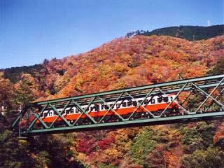 塔ノ沢駅と大平台駅の間の早川橋梁