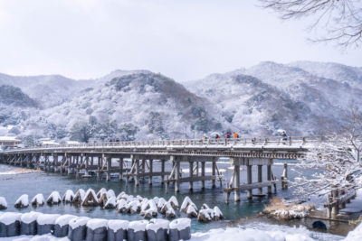 渡月橋 雪景色