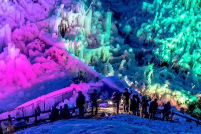 あしがくぼの氷柱のライトアップ1