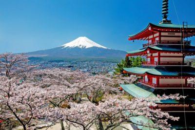桜の季節の新倉山浅間神社