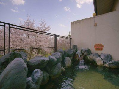 ホテル神の湯温泉 大浴場露天風呂からの桜